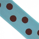 Robin Egg Blue & Brown Polka Dot 1 1/2 Inch Elastic - Reversible