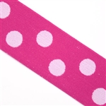 Hot Pink with Light Pink Polka Dot Elastic- 1 1/2 Inch Wide, Reversible