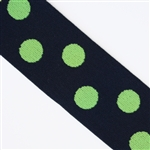 Navy & Lime Polka Dot 1 1/2 Inch Elastic - Reversible
