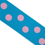 Turquoise with Light Pink Polka Dot Elastic- 1 1/2 Inch Wide, Reversible
