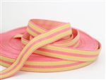 "Melon and Sunshine Yellow Bermuda Elastic - 1"" wide"