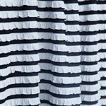 Navy and white striped ruffle fabric