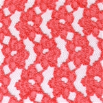 Coral Chenille Stretch Lace