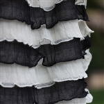 Licorice & Cream Cascading Ruffle Fabric