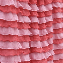 """Sunset"" Cascading Ruffle Fabric - in light peachy pink and coral"