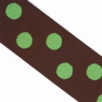 Brown & Lime Polka Dot 1 1/2 Inch Elastic - Reversible