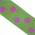 Lime & Pink Polka Dot 1 1/2 Inch Elastic - Reversible