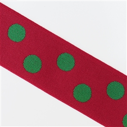 "Red with Green Polka Dot Reversible Elastic, 1 1/2"" Wide"
