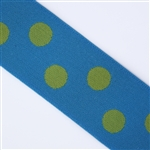 Turquoise & Lime Polka Dot 1 1/2 Inch Elastic - Reversible