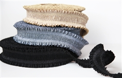 "Metallic Black Ruffle Elastic - 2 1/4"" Wide"
