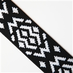 "Black and White Aztec Elastic - 1 5/8"" wide"