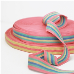 "South Beach Elastic - Melon, Mint, Sunshine yellow and blue- 1 3/16"" wide"
