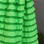 Lucky Bright Green Striped Cascading Ruffle Fabric