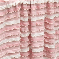 Tickled pink striped ruffle fabric in super soft cozy knit