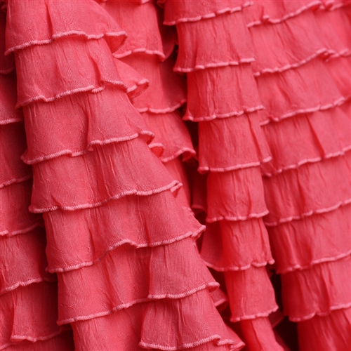 Coral cascading ruffle fabric