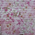 Pink Floral Cascading Ruffle Fabric