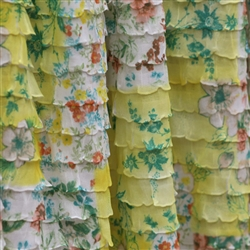 Yellow Floral Cascading Ruffle Fabric