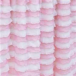 Parfait Pink - Pink and White Striped Cascading Ruffle Fabric