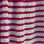 Raspberry & Cream Striped Ruffle Fabric