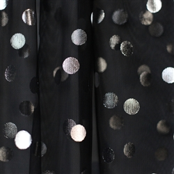 Black Tulle with Silver Foil Dot - Confetti Dot Collection by Ruffle Fabric