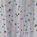 Gray Party Dot Tulle with Rainbow Foil Dot - Confetti Dot Collection by Ruffle Fabric