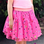 Hot Pink Party Dot Tulle with Rainbow Foil Dot - Confetti Dot Collection by Ruffle Fabric